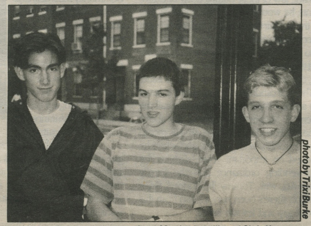 In Newsweekly, Pictured left to right are Phillip Oteri, Marsian De Lellis and Chris Hannon, gay youth members of Rally Planning Committee, 1993, Photo: Trixi Burke