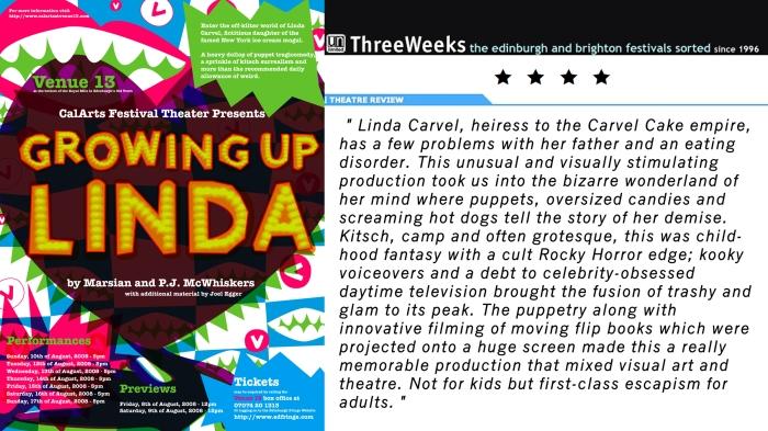 Growing Up Linda poster designed by Ann Coté + Three Weeks Review
