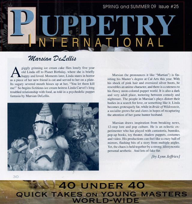 Puppetry International, 40 Under 40 edition, 2009